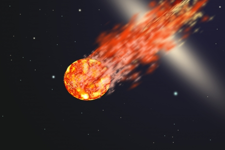 Asteroid with tail of fire
