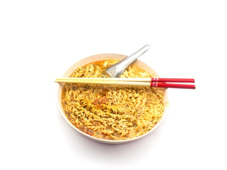 instant noodles on white background photo