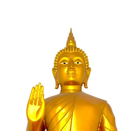 Buddha statue on white background photo