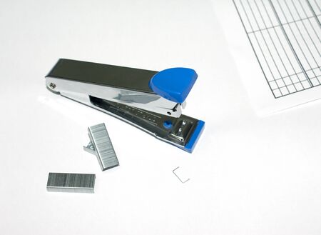 max: Blue max stapler on white background Stock Photo