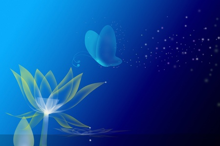 lotus effect: Painting a butterfly in a dream  Stock Photo