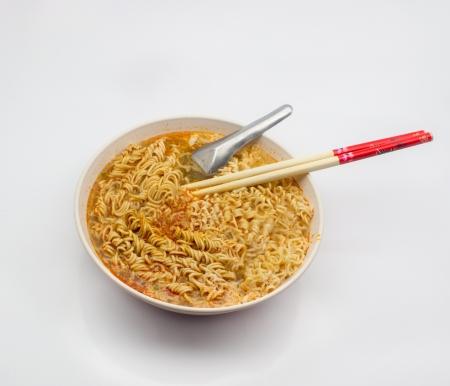 instant noodles: instant noodles on white background