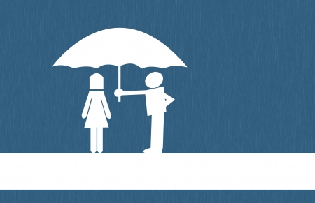 umbrella man protect women. photo