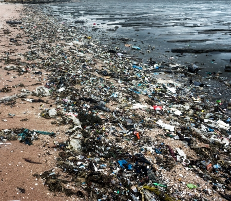polluted river: Garbage on the beach  Stock Photo