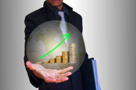 graph coin in hand businessman  photo