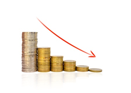 Golden coins and red arrow Graph falls on white background