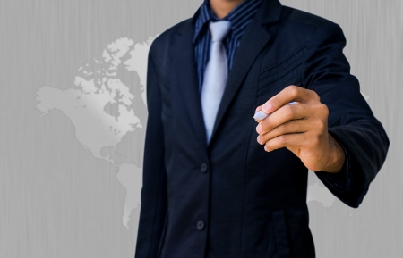 businessman and silver map photo