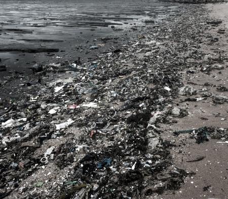 Garbage on the beach dark Shades  photo