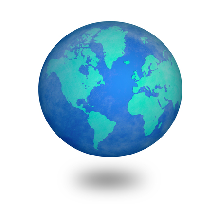 world globe map: blue world  Stock Photo