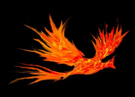 ave fenix: pájaro de fuego abstracta