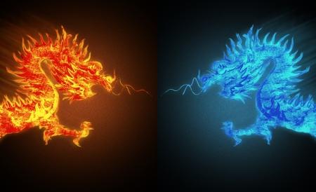 dragon fire versus ice dragon  Banco de Imagens