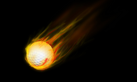 Golf ball on fire photo