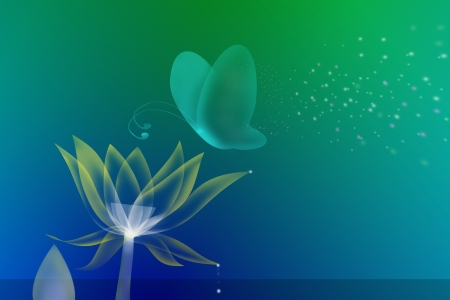 abstract colorful butterfly and lotus flower  photo
