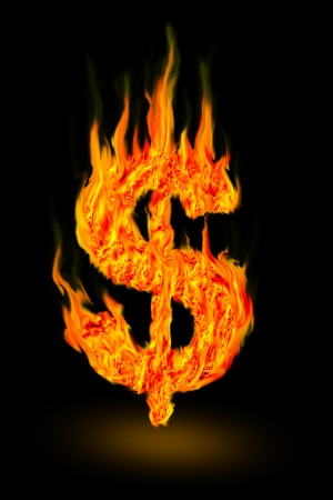 abstract fire dollar symbol photo