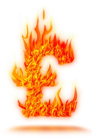 money to burn: abstract fire pound symbol on isolate