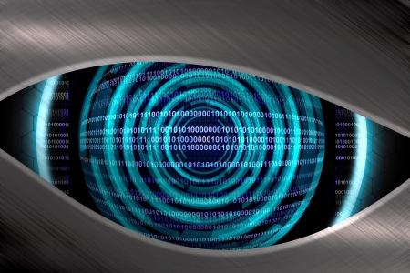 futuristic eye: Abstract blue eye robot