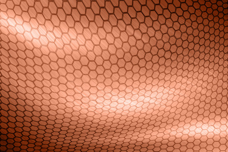waft: copper hexagon texture Stock Photo
