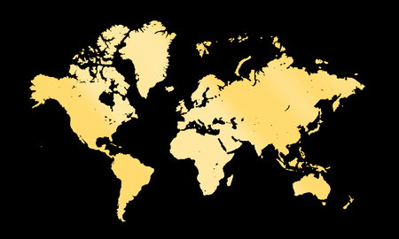 golden globe: gold map on dark background