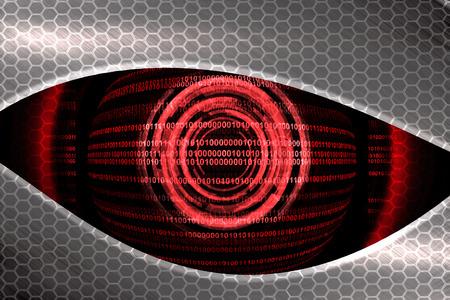 eye glass: red eye robot  Stock Photo