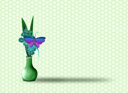 butterfly and vases green background  photo