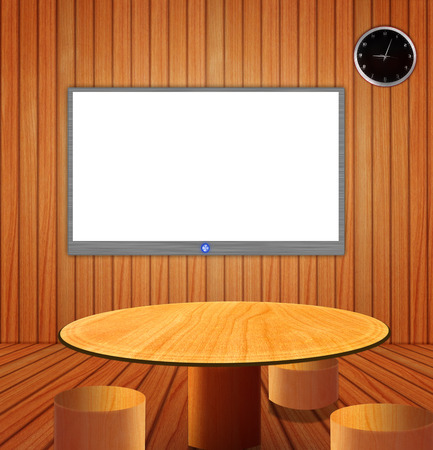 Television in the wood room design  Stock Photo - 22584978