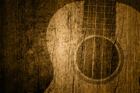 Ukulele in wood texture background
