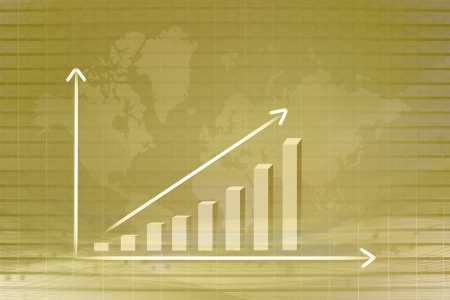 gold graph in map background  Stock Photo