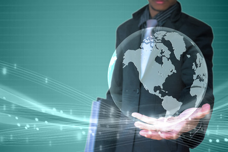 world in hand businessman background  photo