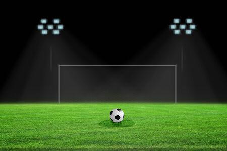 goalpost: penalty kick on soccer field Stock Photo