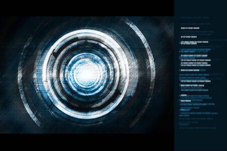 blue cyborg technology background photo