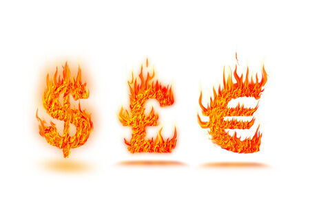 fire dollar symbol  photo