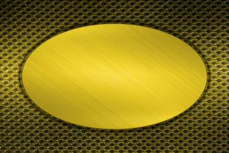 gold circle plate on mesh texture  photo