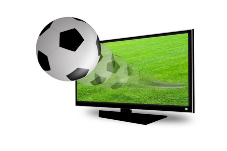 Soccer ball on the 3D television photo