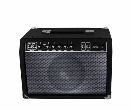 Electric guitar amplifier on isolated photo