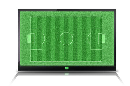 Top View of soccer field in tablet photo