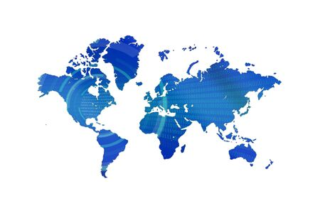 global internet: Blue map technology background Stock Photo