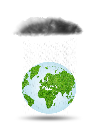 rains: Rains fall on earth.three dimensional concept. Stock Photo