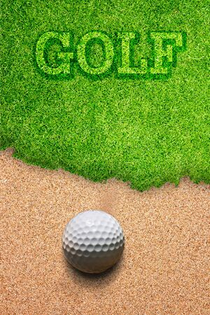 sand trap: Golf ball falling on the sand.