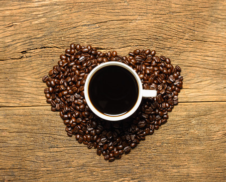 Coffee and heart shaped coffee beans