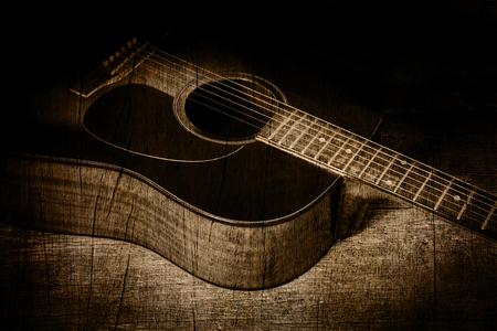 guitar in wood texture background