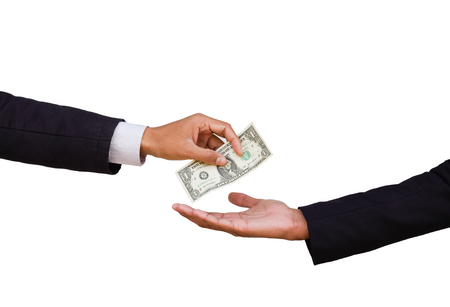 handing over money to another hand isolated on white background