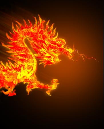 Dragón de fuego sobre fondo negro
