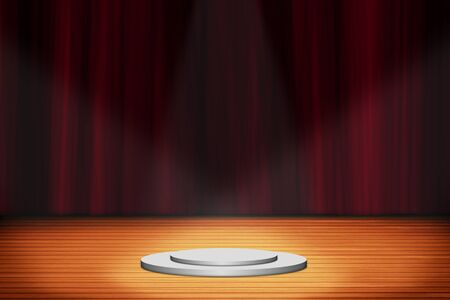 stand podium with red curtain background, Stage backdrop