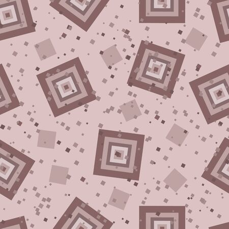 Pattern of squares on a beige background. Different shades of brown and squares of different sizes.
