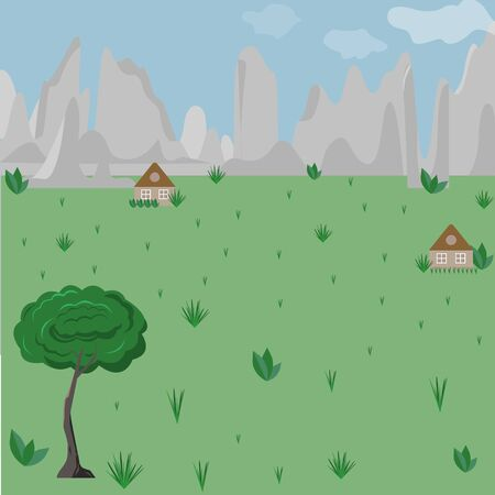 Mountains in a Green valley. Blue sky and a large tree in the foreground. In the distance, two small houses. The concept of a summer vacation away from the hustle and bustle of the city. Ranch for vacationers. Illustration