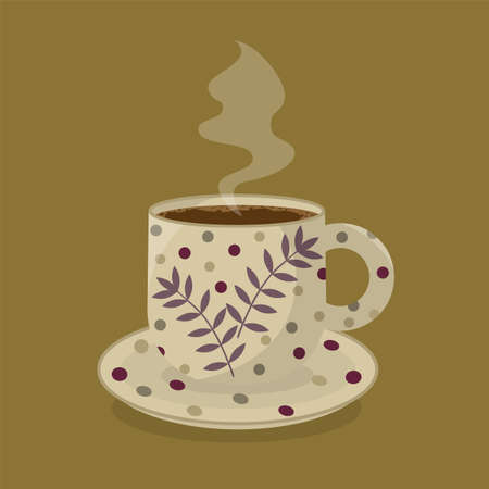 A mug of hot, aromatic coffee. The concept of good morning, warmth and comfort. Foam and bubbles on the surface of the coffee. Beautiful mug with leaves and polka dots and smoke over the coffee. Banner, postcard, poster or menu in a coffee shop. The concept of a warm autumn.