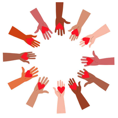 Volunteers holding hearts in their hands. The concept of support, love and help. Friendship between people of all countries and nationalities, different ages and skin colors.