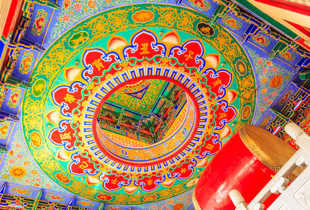 Drum  ring ceiling painting traditional chinese style temple at Wat Leng Noei Yi in Nonthaburi,Thailand