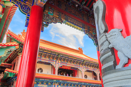 lengnoeiyi: Beautiful traditional chinese temple with blue sky at Wat Leng-Noei-Yi in Nonthaburi,Thailand