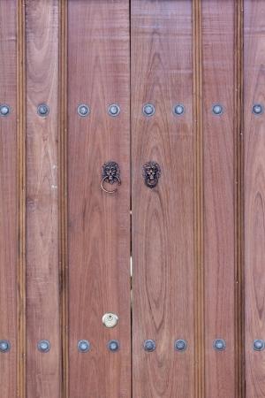 lion head knocker on the doors photo